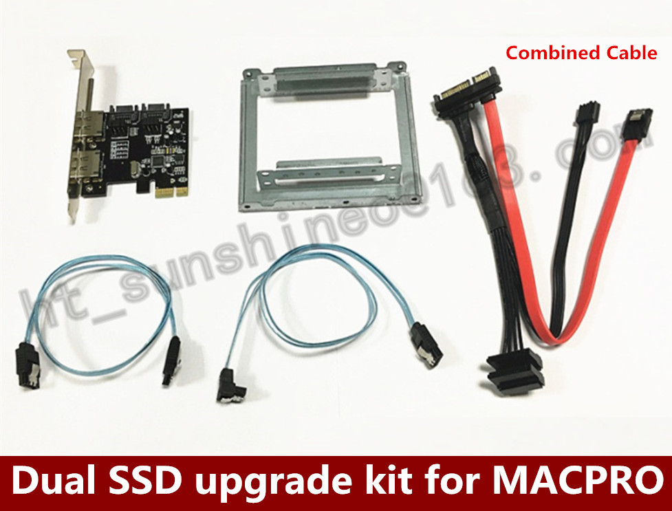 ФОТО Dual Dual SSD upgrade kit for MACPRO PCI-E to SATA3.0 expansion card with combined cable