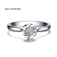 ANI 18K White Yellow Rose Gold AU750 Wedding Ring 0 08 CT Certified I SI Solitaire