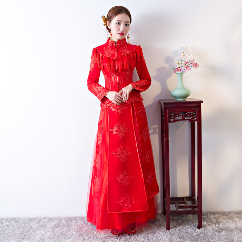 New Lace Floral Embroidery Qipao Chinese Traditional Lady Cheongsam Tassel Bride Pleated Dress Wedding Photography Clothing