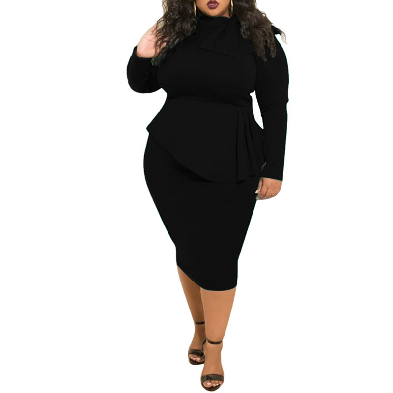 JENYAGE Plus Size Dress for Women 3xl 4xl 5xl Elegant Ruffle Stretch Bodycon High Waist Long Sleeve Party Dinner Casual Dress image