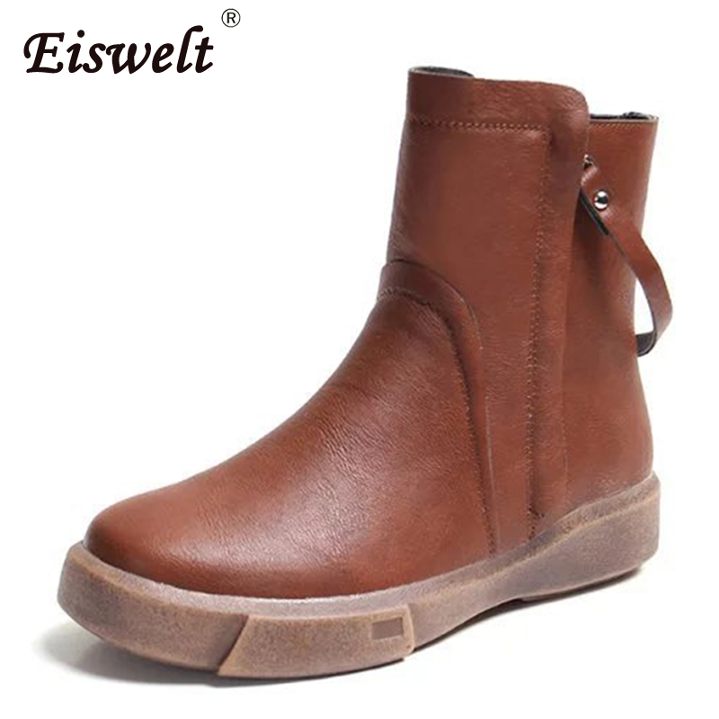 EISWELT Footwear Women's Boots Female Leather Boot Ankle Boots Wedges Autumn Winter Women Shoes Fashion Zip Lace Up Boots#ZQS227 enmayer genuine leather women boots autumn winter wedges shoes zip fashion ankle boots mixed colors platform shoes boots 34 39
