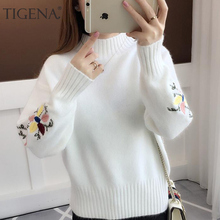 TIGENA Petal Embroidery Turtleneck Sweater Female 2018 Winter Thick Warm Women Sweaters and Pullovers Yellow Blue Pull Femme