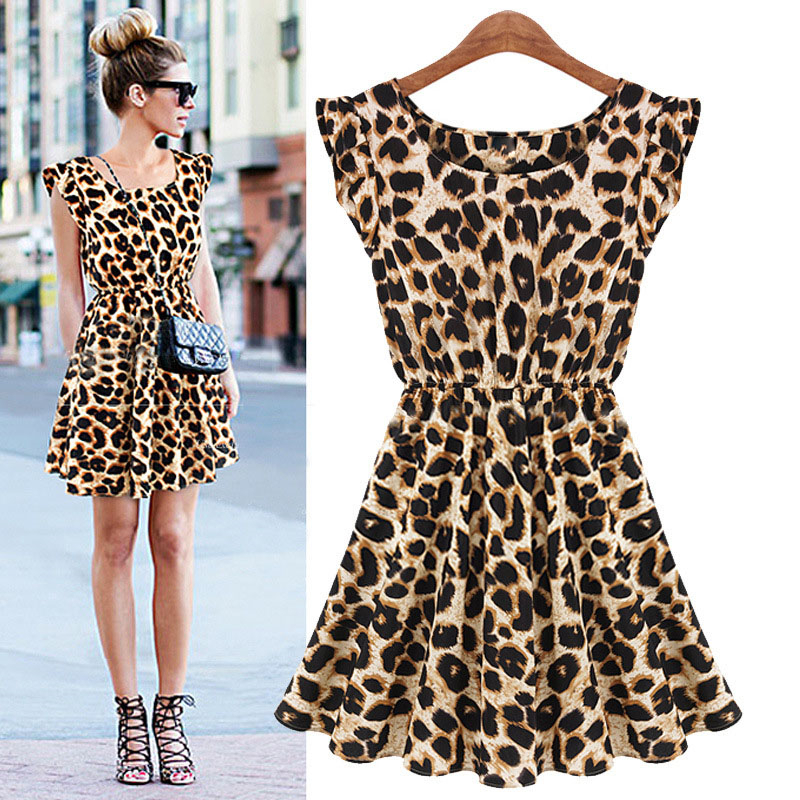 New Hot Sale Sexy Casual Women Dress Leopard Print Sleeveless Ruffles Vestidos Femininos Dresses Girl Sundress Women Clothing