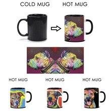 Schöne Hund Pitbull Becher Einzigartige Design Zauberbecher Farbe Ändern tee Kaffee Heiß Kalt Wasser Kühlen Wärme Ändernde Farbe Keramik Tassen