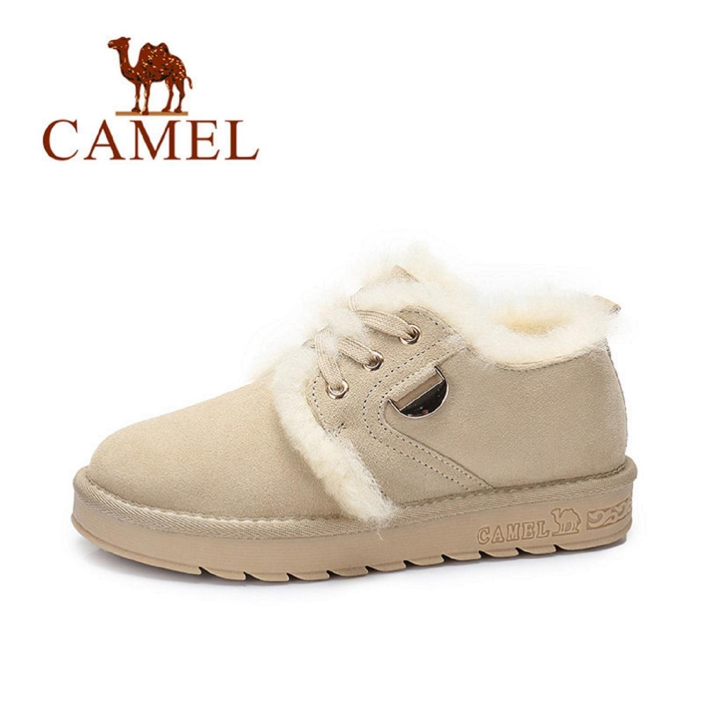 Camel Plush Women Warm Ankle Boots Suede Winter Casual Shoes Durable Female Snow Boots Warm Fur Plush Insole mujer A74502632 new winter shoes 2017 women boots casual ankle boots women slip on flats platform shoes with plush warm snow boots 7e27