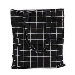 Холщовая Повседневная эко-сумка пляжная сумка эко-сумка повседневное использование складной холст сумка на плечо плед холст сумка для женщ...