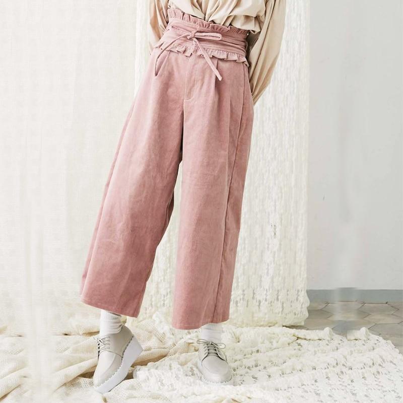2018 Autumn Winter New Women s Wide Leg Pants Corduroy Trouser High Waist Sashes Ruffles Femme