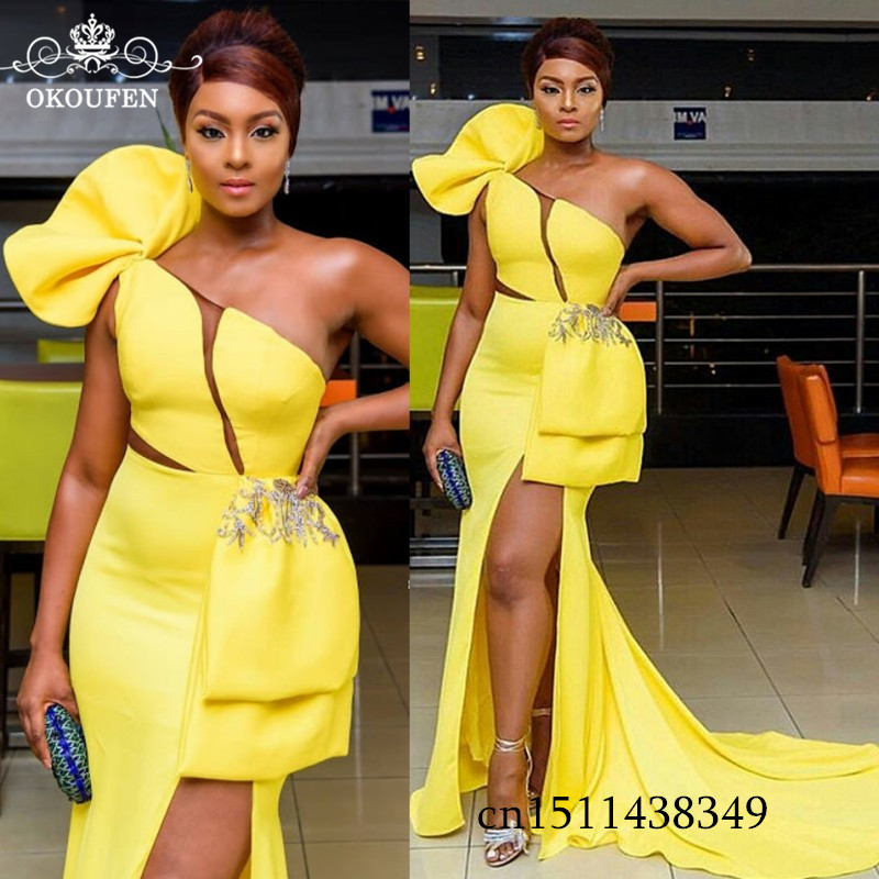 Newest Yellow Stretchy Satin Mermaid   Prom     Dresses   2019 One Shoulder Side Split Long Court Train Evening   Dress   Formal For Women