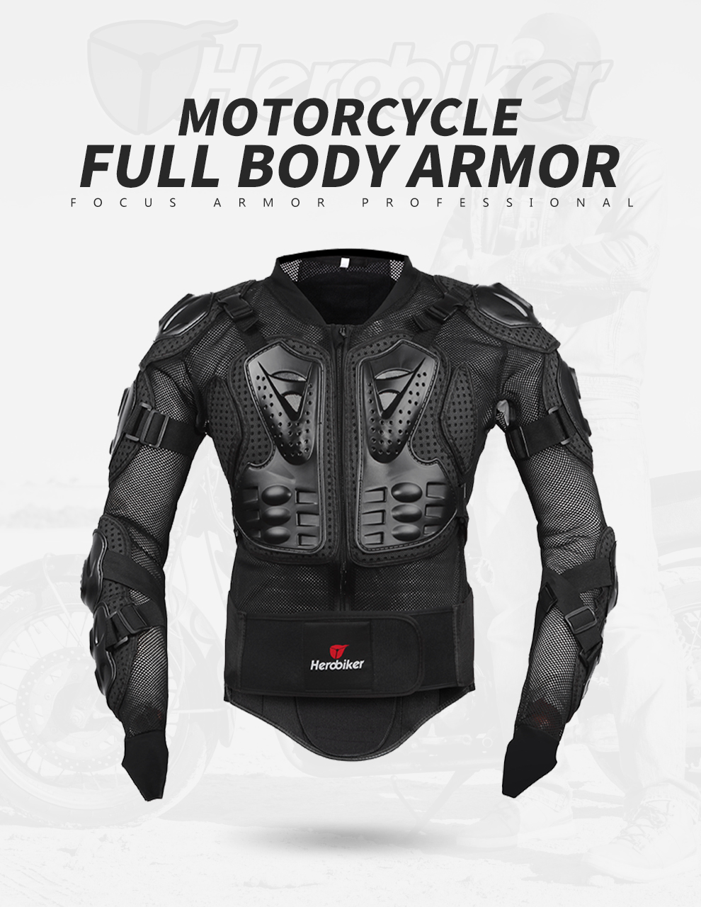 HEROBIKER Motorcycle Jacket Protective Gear Motocross Gear Armor Body Chest Motor Rider Racing Jacket Motorcycle Protection 7
