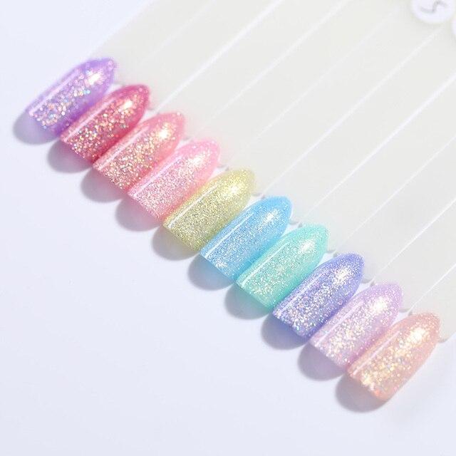 UR SUGAR 7.5ml Holographic Glitter Nail Gel Polish Laser Pink Purple Pearl Shell Semi Permanent Soak Off UV Gel Lacquer Varnish