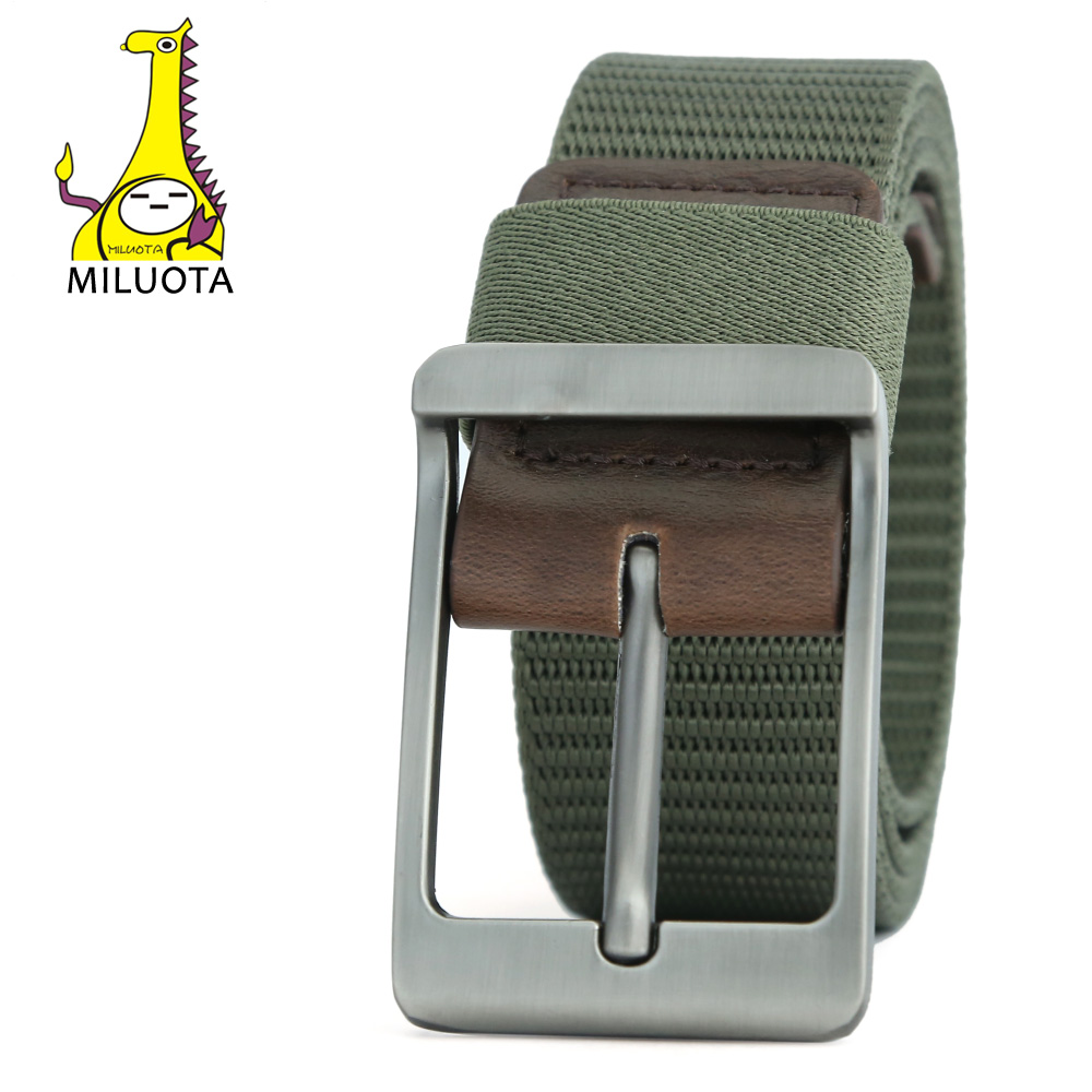 [MILUOTA] Military Equipment Men Belt Tactical Metal Buckle Thicken Canvas Belts Man Waistband MU038