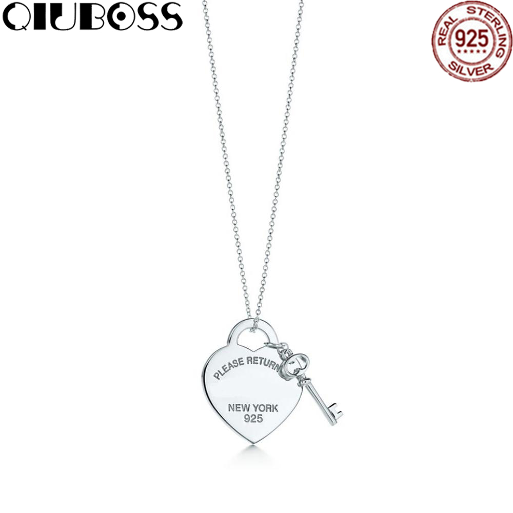 QIUBOSS TIFF Heart Shape Key Lock Pendant Necklace in Sterling Silver key Clavicle Necklace Gifts Accessories цена 2017