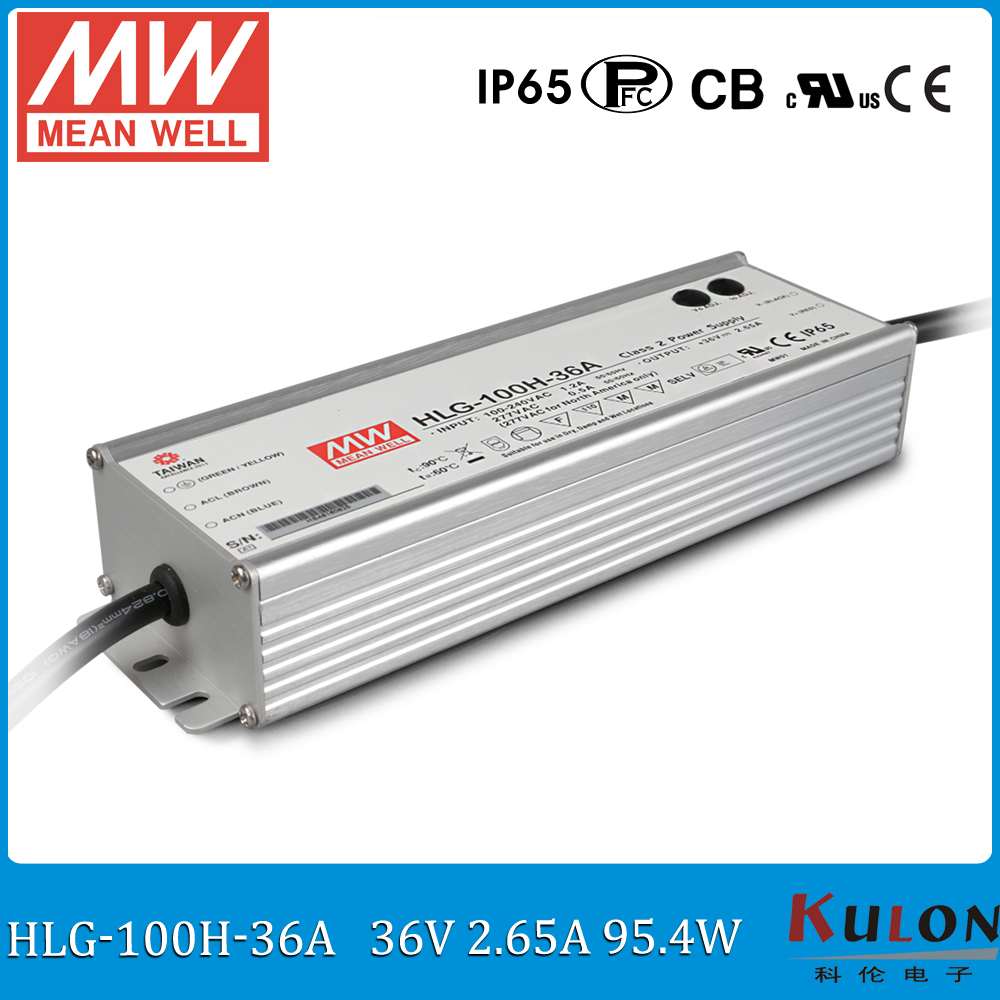 Original MEAN WELL HLG-100H-36A 100W 36V 2.65A Waterproof LED driver adjustable meanwell power supply with PFC function original mean well led driver hlg 60h 36a 61 2w 36v 1 7a adjustable ac dc power supply with pfc