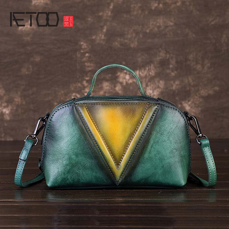 AETOO 2018 the new brush color character lady shoulder bag Original vintage first layer cow leather bags women europe and the first layer of leather woven bag bag leather making small bag 2018 new single shoulder bag lady