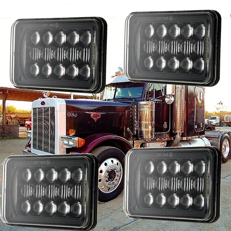 Hi/Lo Beam Daytime Running light Square 4x6 led headlight 5 inch 48W LED Driving lights for Freightliner FLD 120 112 FLD car light 4x6 inch rectangular led work light drl hi lo beam headlight for peterbilt freightliner truck 4pcs set