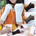 Fashion Women Winter Wrist Arm Hand Warm Knitted Long Fingerless Gloves
