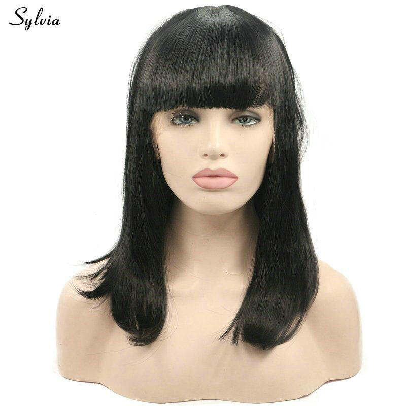 Nature Looking 1B# Straight Hair With Bangs Heat Resistant Fiber 14 Shoulder Length Short Bob Synthetic Lace Front Wig Sylvia