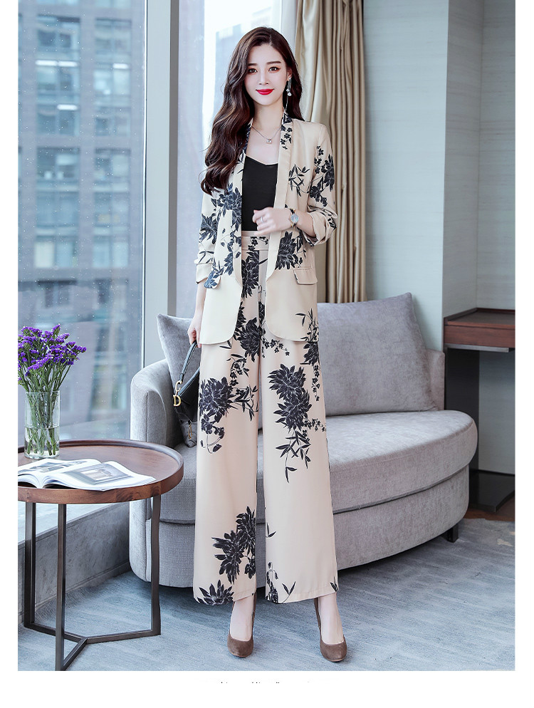 YASUGUOJI New 2019 Spring Fashion Floral Print Pants Suits Elegant Woman Wide-leg Trouser Suits Set 2 Pieces Pantsuit Women 13