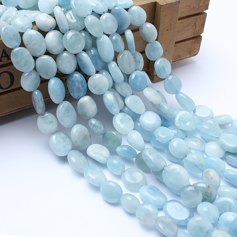 Natural Stone Beads 8-10mm Irregular Aquamarine For Jewelry Making Bracelet Necklace 15inches