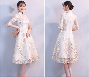 Image 5 - Vintage Chinese Style Wedding Dress Retro Toast Clothing Mini Gown Marriage Cheongsam Qipao Party Evening Dress Vestidos Clothes