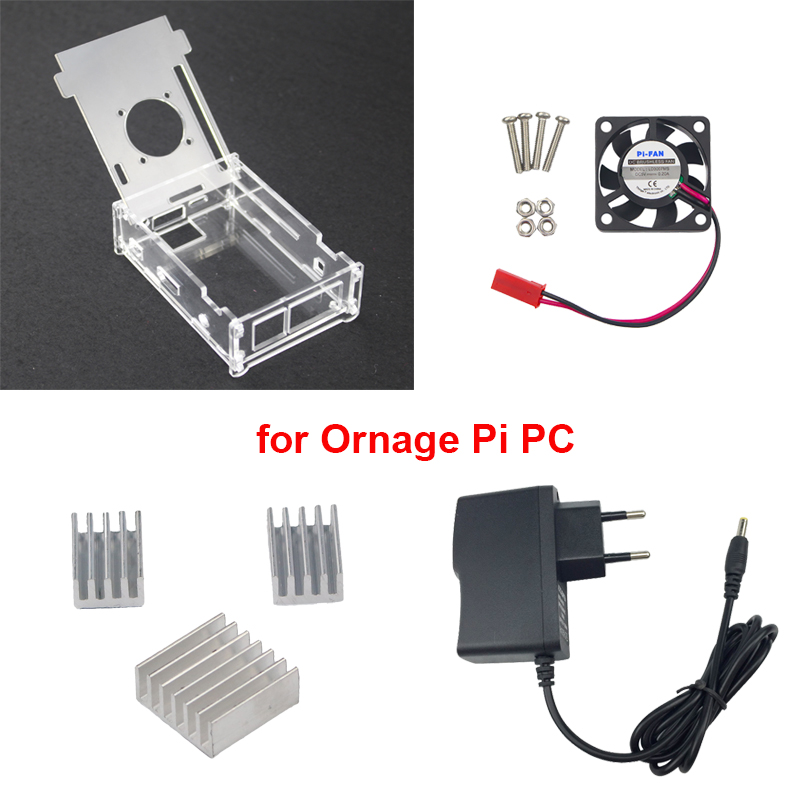 Transparent Acrylic Case for Orange Pi PC 5V 2A Power Supply Adapter 3 Aluminum Heat Sink
