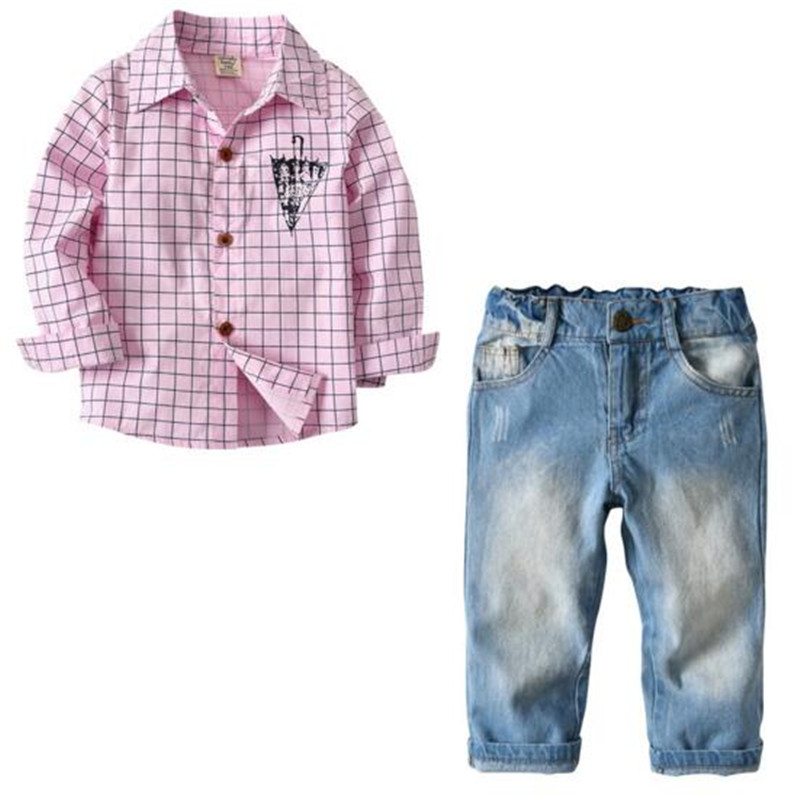 New Autumn Spring  children boys girls  Cotton Clothing Sets  Shirts +Pants Sets Suit  handsome gentleman sets girls spring sets 2017 new children s leisure clothing suit fashion long sleeves cotton shirts girls pants 2 pieces kids clothes