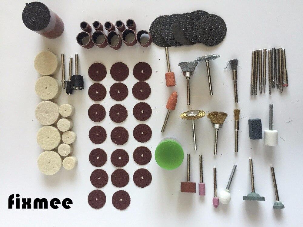 Fixmee 100Pc Rotary Tool Accessory Bit Set Suit Dremel 1/8 Shank Grinding Polishing For Rotary Machine wool mounted rotary tool polishing grinding wheel set 100pcs 3mm shank for dremel