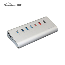 7 в 1 5 Гбит/С рабочего стола концентратор высокая скорость usb3.0 данных reader hub splitter алюминий 1 В 1A QC 2.0 charge hub combo с 12 В 3a ac plug