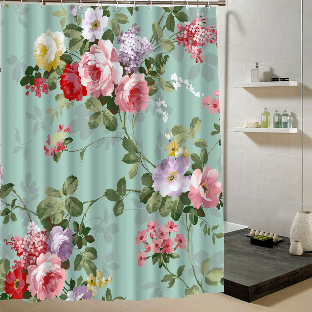 Fabric Green Shower Curtain Machine Washable Pink Flowers