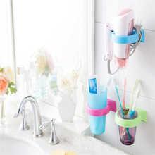 Estante de almacenamiento de cepillos de dientes de dibujos animados de alta calidad taza montada en la pared en la ducha colgador de la taza estante de almacenamiento de pasta de dientes soporte de pared