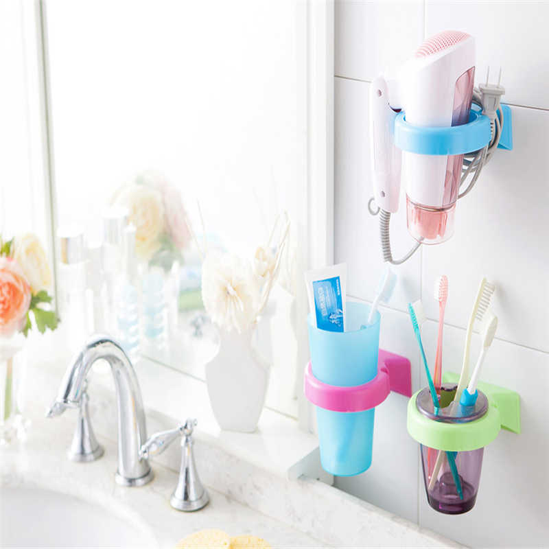 Image 1 - High Quality Cartoon toothbrush Storage Rack Wall Mounted Cup in Shower Room Hanger Cup Toothpaste Storage Rack Holder Wall Moun-in Storage Shelves & Racks from Home & Garden