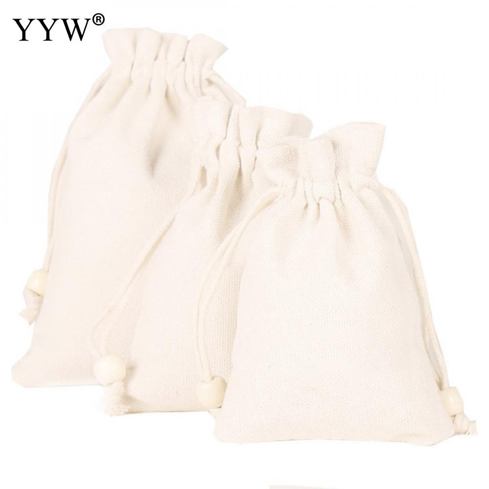 10PC/Lot 8*10cm/12*15cm/13*18cm White Chinese Wind Small Gift Cotton And Linen Belt Bag Jewelry Wedding Gift Jewelry Pouches Bag