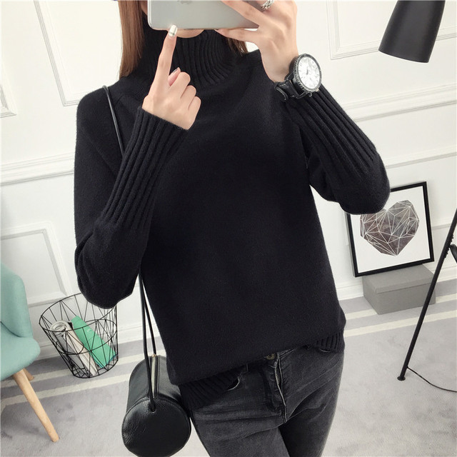 2019 New Winter Women Cashmere Pullover Sweaters Loose Turtleneck Jumper Female Knitted Sweaters blusas de inverno feminina