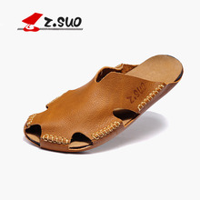 Z. Suo males's Summer Slippers,leisure trend leather-based Slippers,Rubber soles Breathable sandals.Sandalias DE cuero DE los hombres