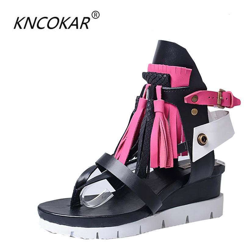 Cowhide scallop flowers thickly bottom wedge heel sandals in the field of the Bohemian real leather Roman sandals slope and 7CMCowhide scallop flowers thickly bottom wedge heel sandals in the field of the Bohemian real leather Roman sandals slope and 7CM