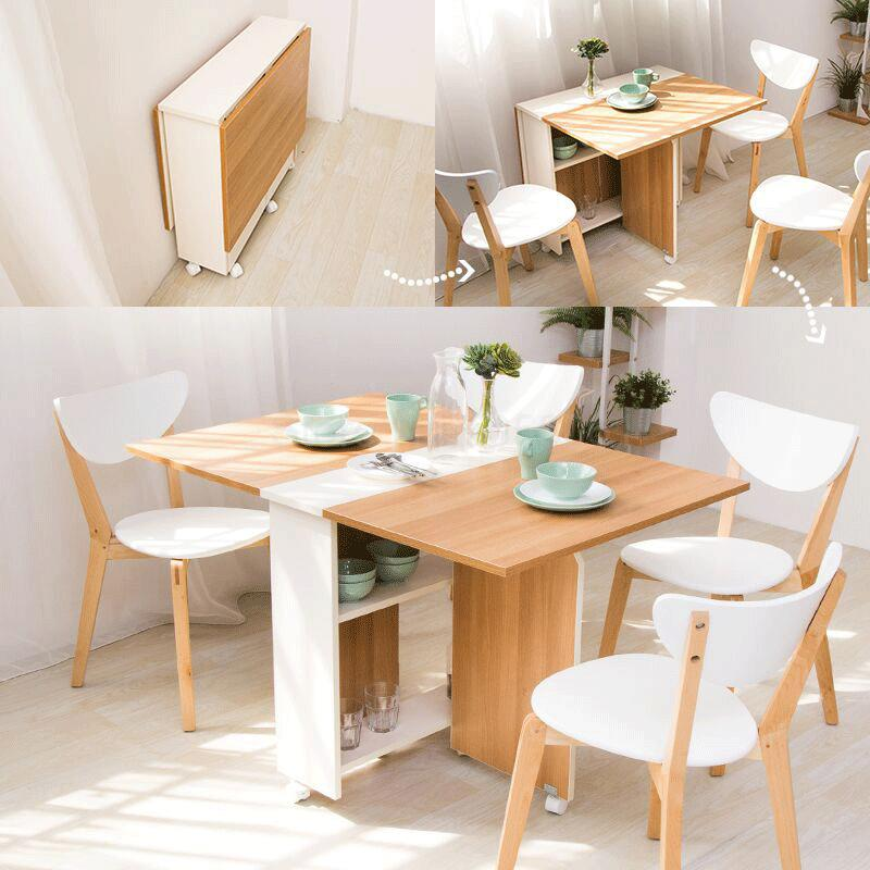 Folding Dining Table Home Small Apartment Eating Table 1.2 M Rectangular Simple Telescopic Mobile Table