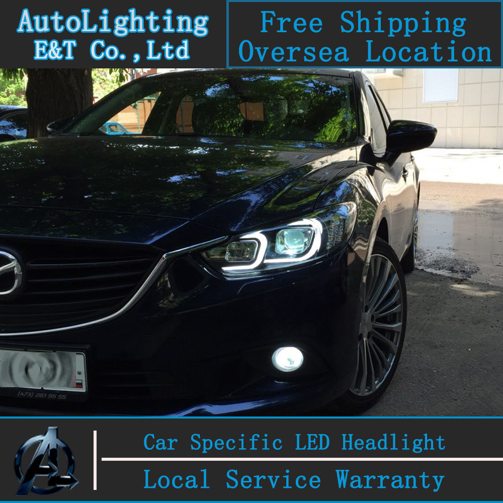 Car Styling New For Mazda 6 led headlight assembly 2014-2015 Led Mazda6 head lamp Angel eye led H7 with hid kit 2 pcs. rockeybright 1set all in one n1 h7 led headlight fog head lamp kit with 2pcs h7 led adapter for the new jetta for the new bora