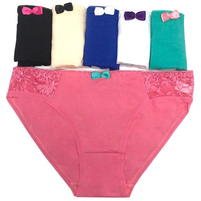0ccfc5e83 Pack of 6 Lace Trim Cotton Lady Panties Women Short Brief Underwear Girl  Pant Sexy Lingerie Size M L XL(