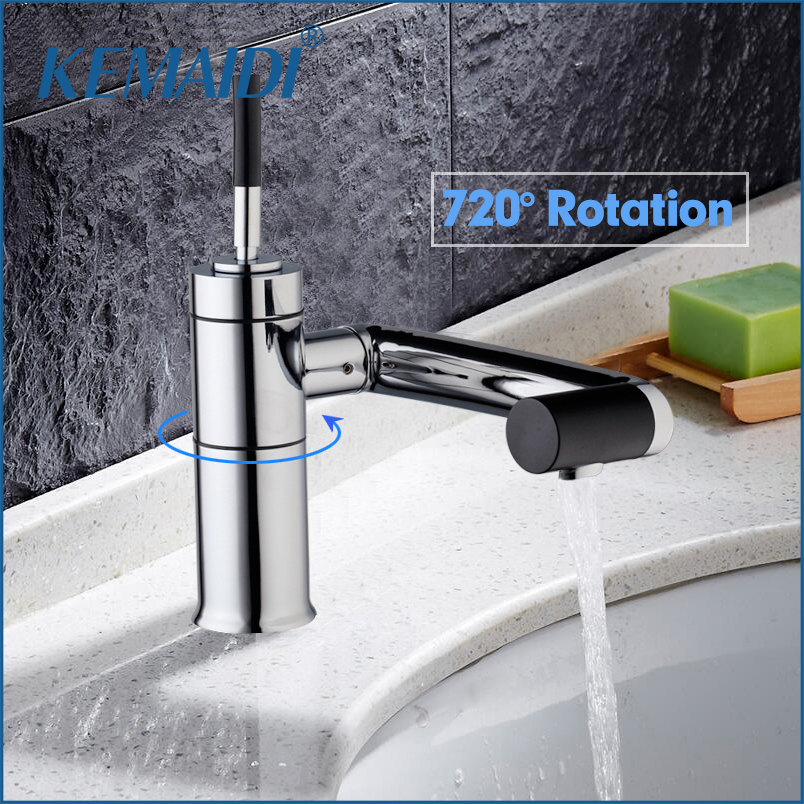 KEMAIDI New Basin Deck Mounted For Kitchen Bathroom Faucet Swivel 360 Brass Hot&Cold Water Torneiras Cozinha Tap Mixer Faucet