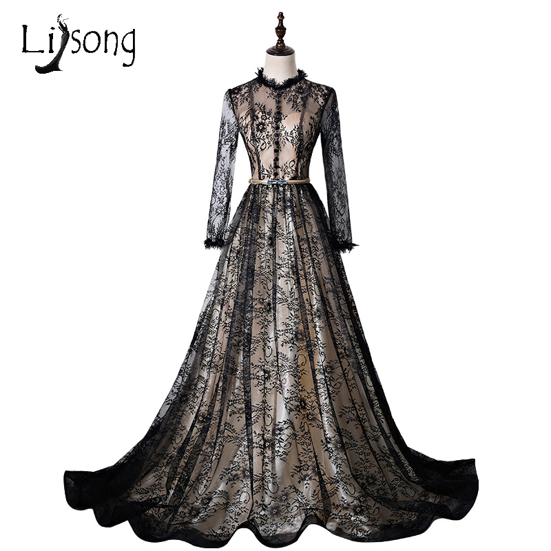 Vintage Black Lace Evening Dresses Ilussion Full Sleeves Modest Formal Party Dress Abendkleider Long Prom Gowns Vestido Branco