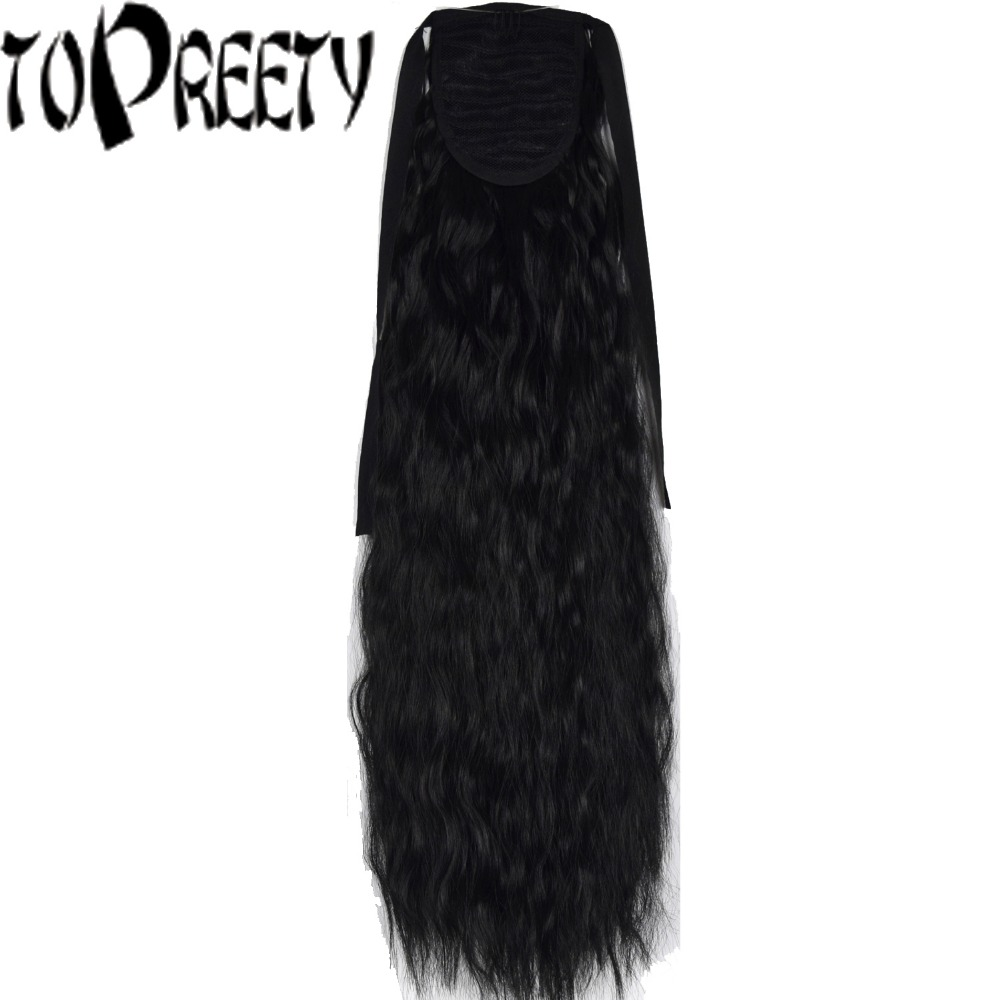 Topreety Heat Resistant B5 Synthetic 22 55cm 90gr Kinky Straight Ribbon Ponytail Extensions 40 Colors Available Synthetic Ponytails