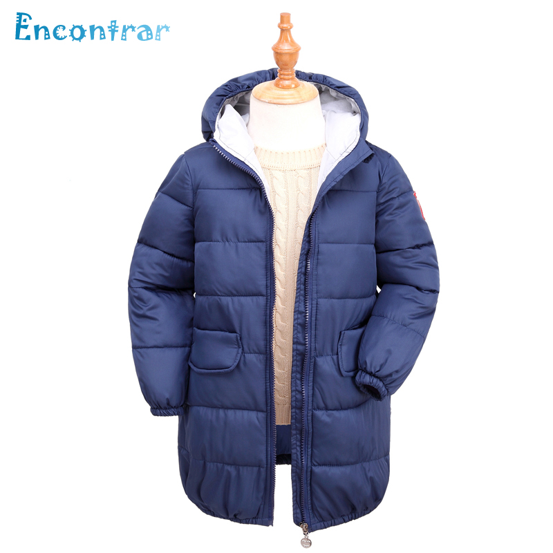 Encontrar Winter Parkas Cotton Coats for Boys Children's Long Style Hooded Outerwear Girls Solid Jackets for Teens 6T-12T,DC257 casual 2016 winter jacket for boys warm jackets coats outerwears thick hooded down cotton jackets for children boy winter parkas