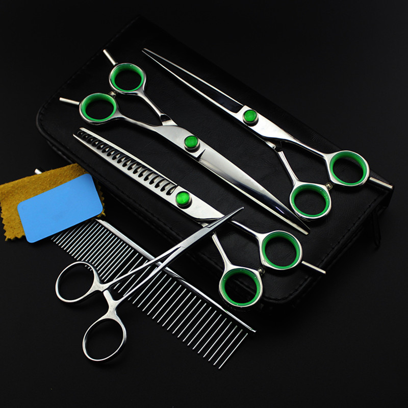 5 kit Professional Japan 7 inch green pet grooming hair scissors set dog cutting shears thinning barber hairdressing scissors customize professional 4 kit pink pet 8 inch shears hair scissors set dog grooming thinning cutting barber hairdressing scissors