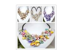 Wholesale Good Luxury WOMEN Girls Colors Hand Woven Yellow Shell 5 Flowers Pearl Crystal Black Leather