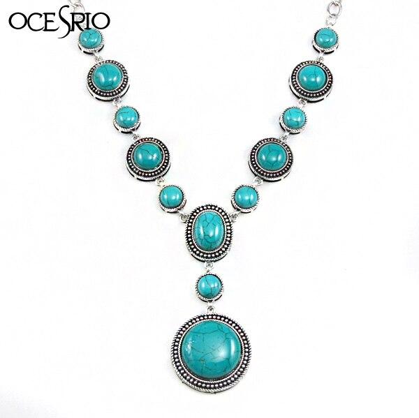 2c2fe462f2ff Cadena de plata collares largos grandes collares de Color piedra azul y  colgantes collar de piedra étnica para mujer joyería femenina nke k49 en  Collares de ...