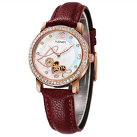 Fashion Automatic Watch Ladies Mechanical Hollow Waterproof Watch Diamond Clock Ladies Leather Simple Trend Watch