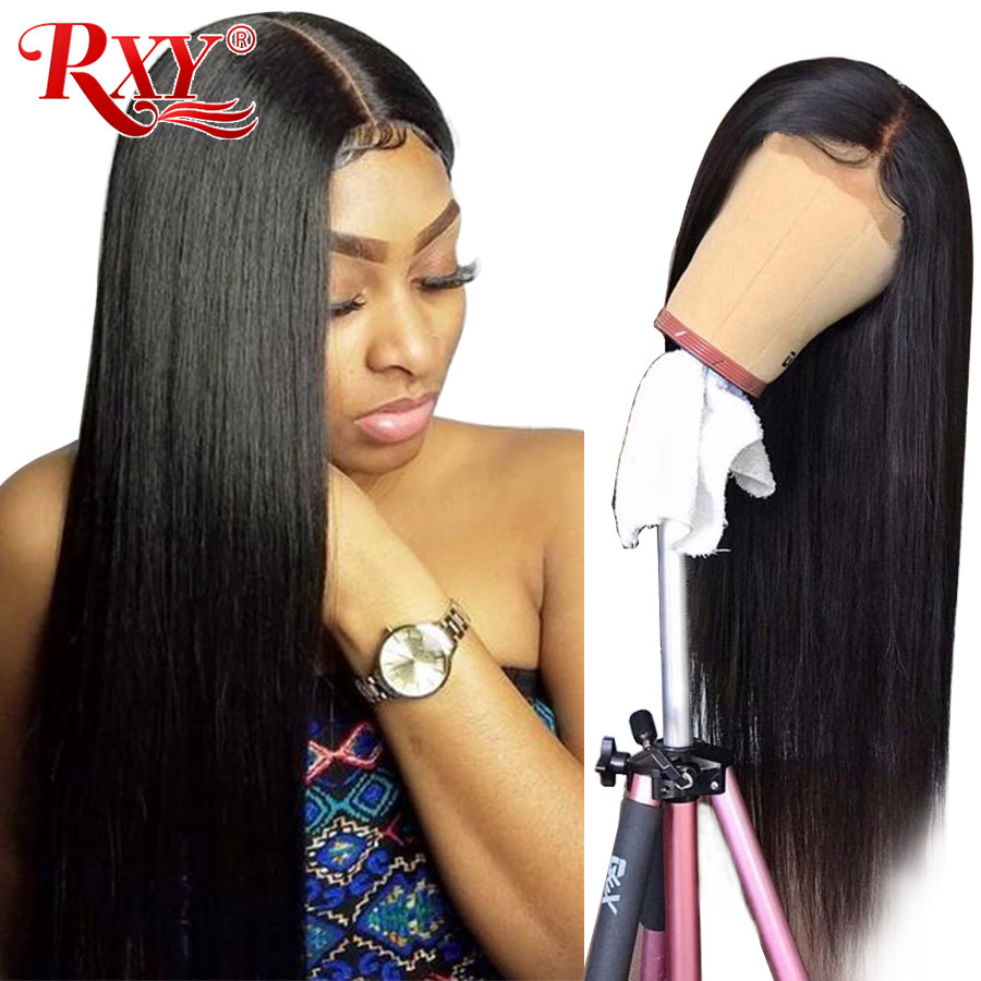 RXY 360 Lace Frontal Wig Pre Plucked With Baby Hair Straight Lace Front Human Hair Wigs