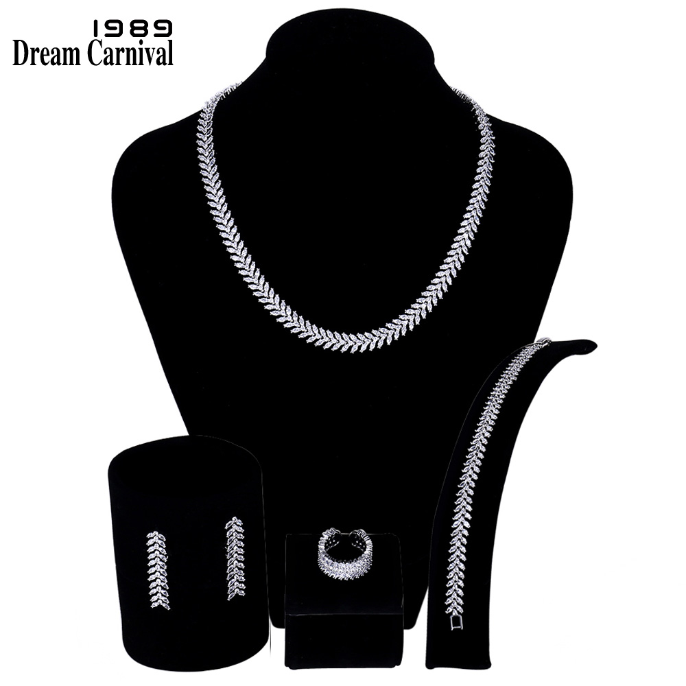 DreamCarnival 1989 Luxury Drop Shape Pendant Necklace Earrings Set White CZ Women Wedding Gift Set SN05432 chic rhinestone african plate shape pendant necklace and earrings for women