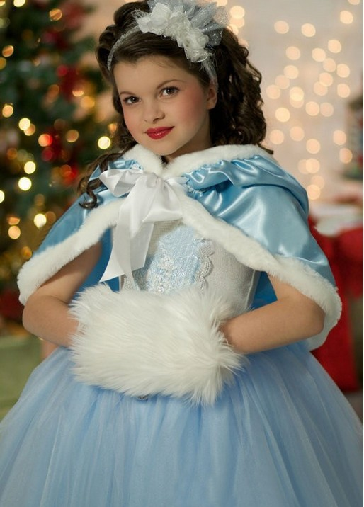 Girls Cinderella Costume Kids Princess Party Dress Outfit And Shawl Accessories