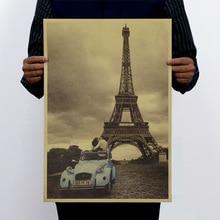 Париж Эйфелева башня и автомобиль Винтаж крафт-бумага Классический плакат домашний арт журналы кафе бар украшения Ретро плакаты и принты